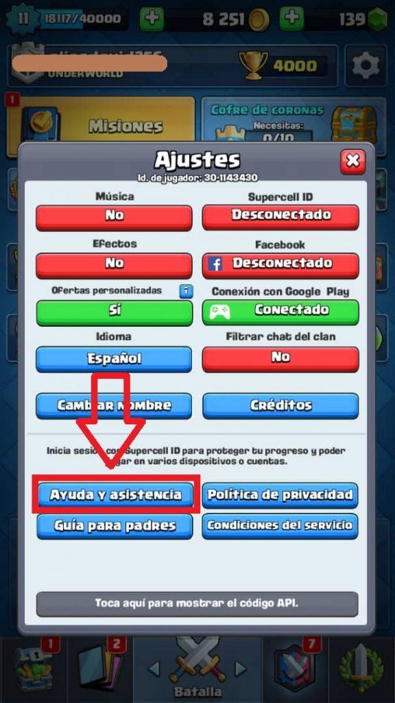 ayuda y asistencia clash royale