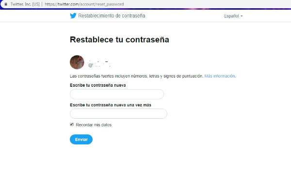 restablecer contraseña twitter