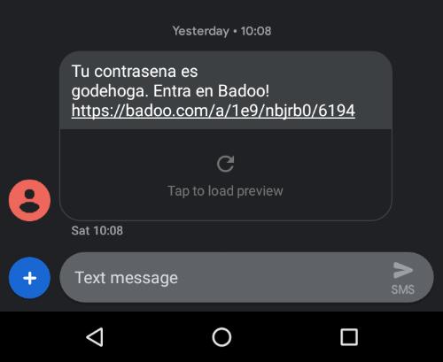 recuperar badoo por sms