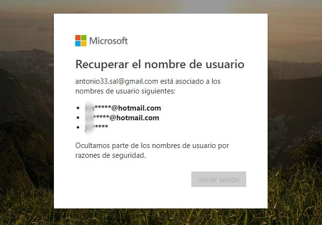 identificar el usuario hotmail