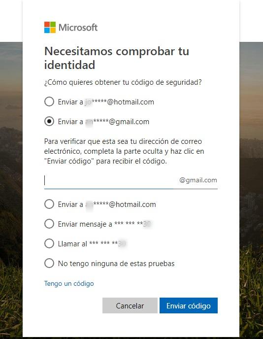 solicitud del código de seguridad hotmail