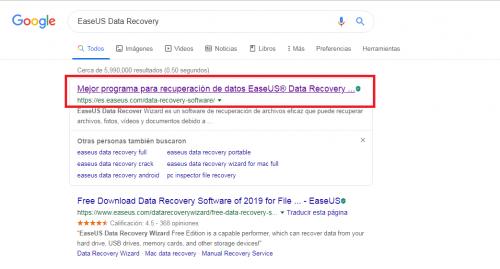 easeus data recovery para recuperar el historial