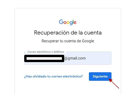 Recuperar contraseña gmail