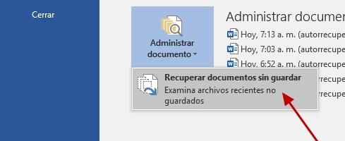 recuperar archivo de word